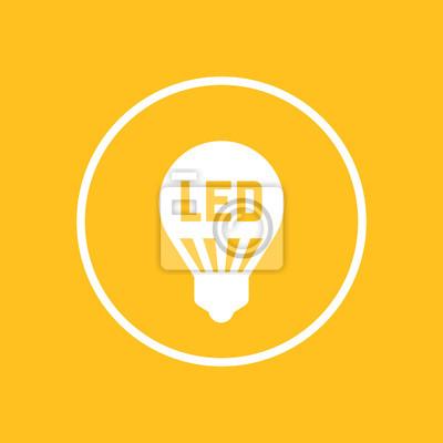 Led-glühbirne, lampe-symbol im kreis fototapete • fototapeten ...