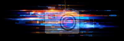 Fototapete Led Light. Abstract effect. Future tech. Glare cubes. Digital cpu signal. .Shine grid. Modern big data. Neon flare. Quantum computer net system. .Magic code. Grid HUD lines. Web device. Blocks system.