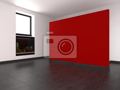 Leer wohnzimmer mit roten wand und aquarium fototapete • fototapeten ...