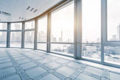 Fototapete Leere bürozimmer in modernen bürogebäuden in sonnenaufgang