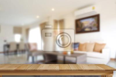 Fototapete Leere Holz Tisch Platz Plattform Und Wohnzimmer Hintergrund.  Produktanzeige Montagekonzept.