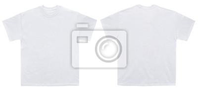Fototapete Leere T-Shirt Farbweiß Vorlage Vorder- und Rückseite auf weißem Hintergrund