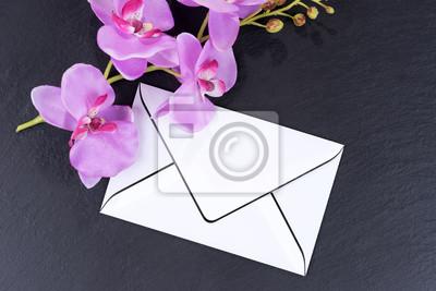 Leere Trauerkarte Mit Orchideen Als Dekoration Auf Schwarzem