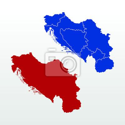 Jugoslawien Karte.Fototapete Leere Und Grenze Getrennte Karte Von Jugoslawien
