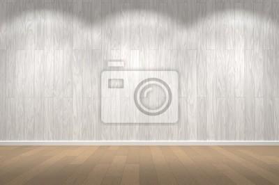 Leere Wand Weisse Holzwand Und Holzboden Mit Lichter Leer Platz
