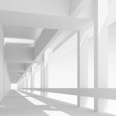 Fototapete Leere weiße Korridorperspektive, 3d Abbildung