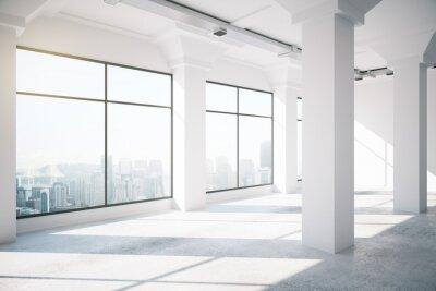 Fototapete Leere weiße Loft Innenraum mit großen Fenstern, 3d render