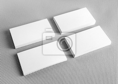 Leere Weiße Visitenkarten Auf Grauem Hintergrund Mockup Für