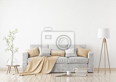 Leere Weisse Wand Mockup Mit Sofa Kissen Plaid Und Lampe Auf