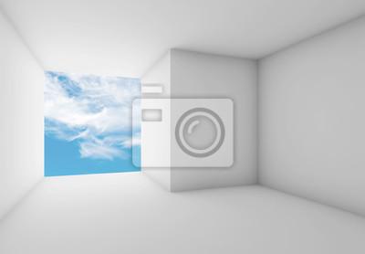 Leerer Raum 3d Mit Bewölktem Himmel Im Leeren Fenster Fototapete