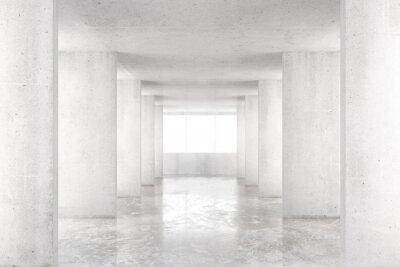 Fototapete Leerer Raum mit Betonwänden, Betonboden und großem Fenster, 3