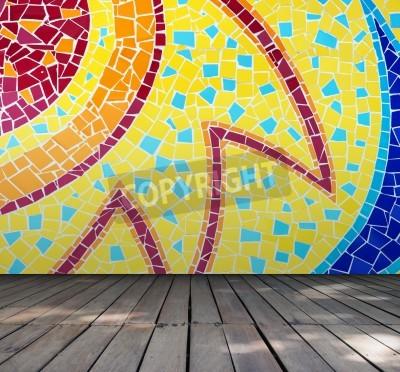 Leerer Raum Mit Bunten Mosaik Fliesen Wand Und Holzboden Interior