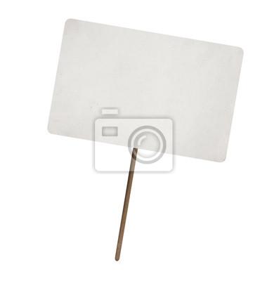 Fototapete Leeres Blatt Papier auf Holzstab