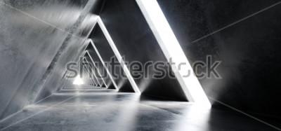 Fototapete Leeres langes Licht konkretes modernes Poli-Fi-futuristisches Dreieck geformte Bau-Tunnel-Korridor-3D, das Illustration überträgt