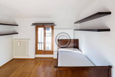 Leeres neues schlafzimmer, nur mit holzbett fototapete • fototapeten ...