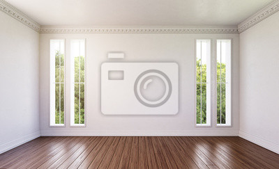 Holzfußboden ~ Leeres zimmer mit dunklem holzfußboden fototapete u fototapeten