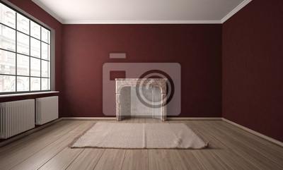Leeres Zimmer Mit Kamin Und Teppich Fototapete Fototapeten