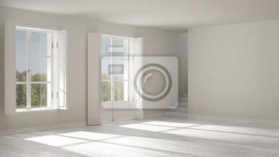 Leerraum mit fenstern und treppen, minimalistische skandinavische ...