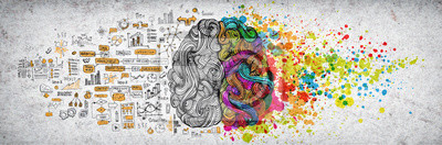 Fototapete Left right human brain concept, textured illustration. Creative left and right part of human brain, emotial and logic parts concept with social and business doodle illustration of left side, and art