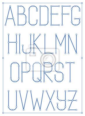 Leichte dünne Schriftart mit Knoten. Vector Stil Alphabet