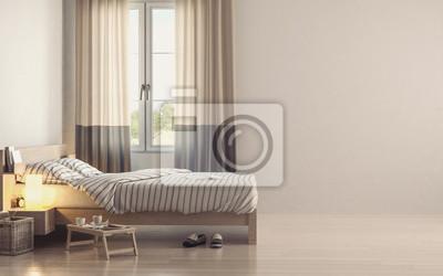 Leichtes minimalistisches schlafzimmer interieur fototapete