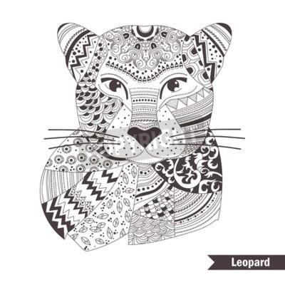 Leopard. malbuch für erwachsene, antistress malvorlagen. hand ...