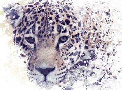 Leopard-Porträt-Aquarell
