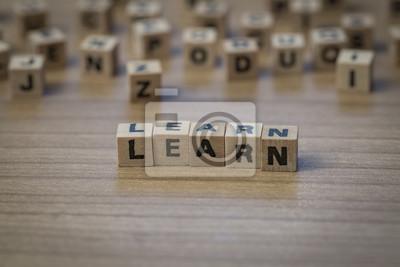 Lernen Sie in Holzwürfel geschrieben