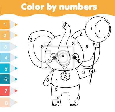 Fototapete Lernspiel Für Kinder Malvorlage Mit Elefant Farbe Nach Zahlen