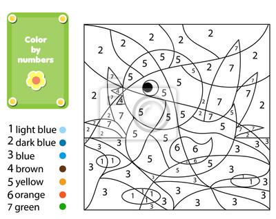 Lernspiel für kinder. malvorlage mit ente. farbe nach zahlen ...