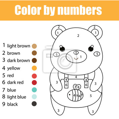 Lernspiel Für Kinder Malvorlage Mit Niedlichen Bären Farbe