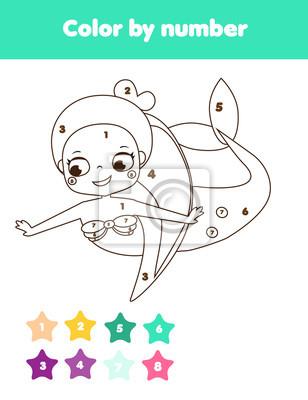 Lernspiel für kinder. malvorlage mit süßer meerjungfrau. farbe ...