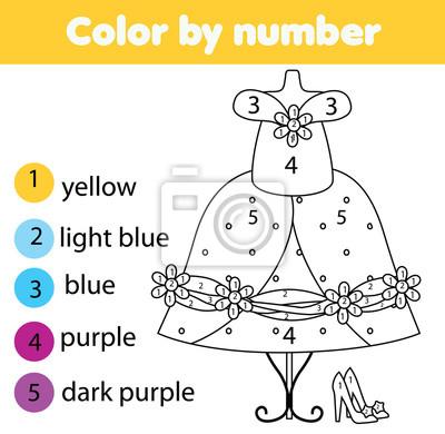 Lernspiel für kinder. malvorlage. modisches kleid. farbe nach ...