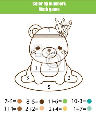 Lernspiel für kinder. mathematik-aktivität. farbe nach zahlen ...