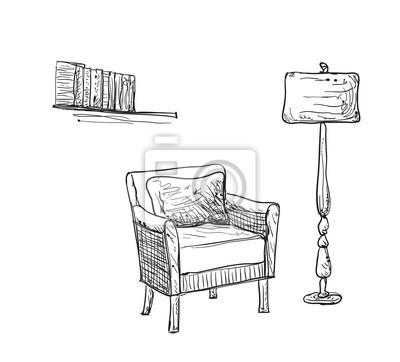 Lesestelle Skizze Stuhl Und Lampe Fototapete Fototapeten