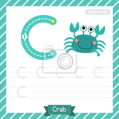 Letter c großbuchstaben übungsarbeitsblatt mit krabben für kinder ...