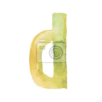 Letter D Colorful watercolor aquarelle font type handwritten