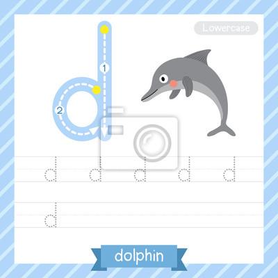 Letter d kleinbuchstaben übungsarbeitsblatt mit delphin für kinder ...