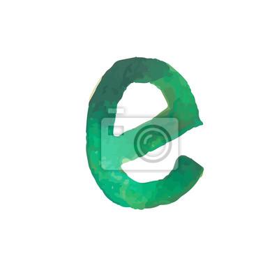 Letter E Colorful watercolor aquarelle font type handwritten