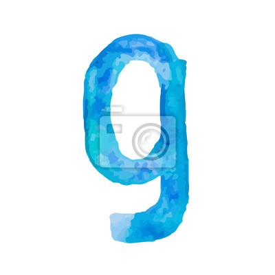 Letter G Colorful watercolor aquarelle font type handwritten