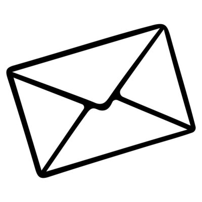 Letter in an envelope. Email. Vector illustration. Outline on an isolated white background. Doodle style. Sketch. Message to the recipient. SMS Newsletter. The idea of illustrations for web design.