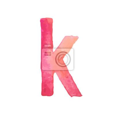 Letter K Colorful watercolor aquarelle font type handwritten