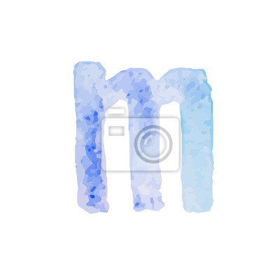 Letter M Colorful watercolor aquarelle font type handwritten