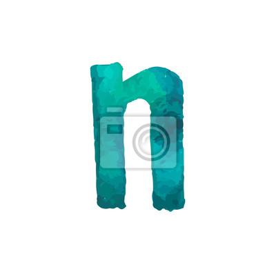 Letter N Colorful watercolor aquarelle font type handwritten