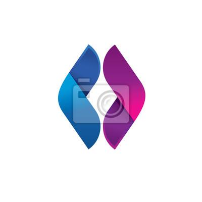 Letter o logo, abstrakt kugel blatt oder flügel reflektieren ...