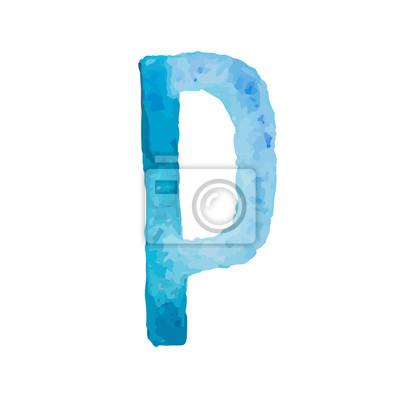Letter P Colorful watercolor aquarelle font type handwritten