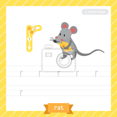 Letter r kleinbuchstaben übungsarbeitsblatt mit ratte für kinder ...