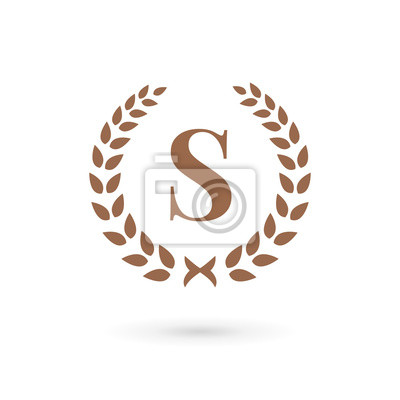 Fototapete Letter S Laurel Wreath Logo Icon Design Template Elements