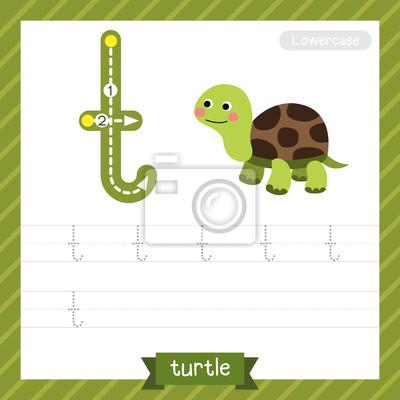 Letter t kleinbuchstaben übungsarbeitsblatt mit schildkröte für ...