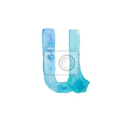 Letter U Colorful watercolor aquarelle font type handwritten